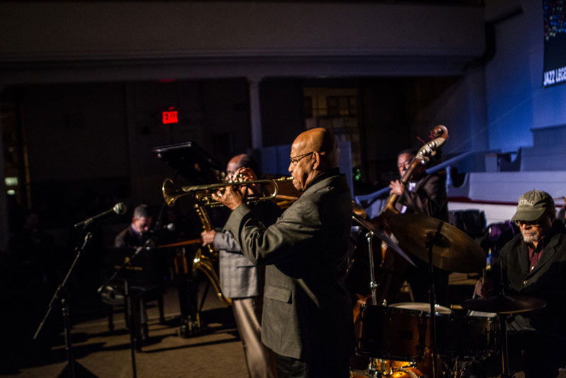 Dr Eddie Henderson, Benny Golson, Mike LeDonne, Buster Williams, and Jimmy Cobb at the Jazz Legends for Disability Pride Concert.