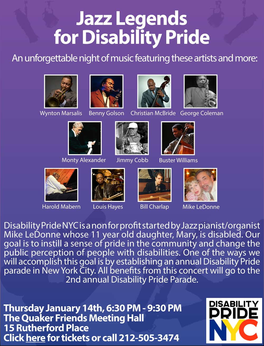 Jazz Legends for Disability pride Poster
