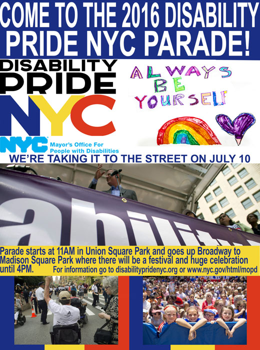 Disability Pride Parade poster 2016