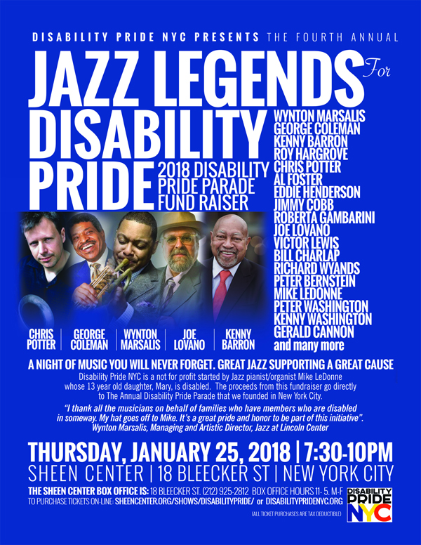 jazz legends for disability pride concert poster