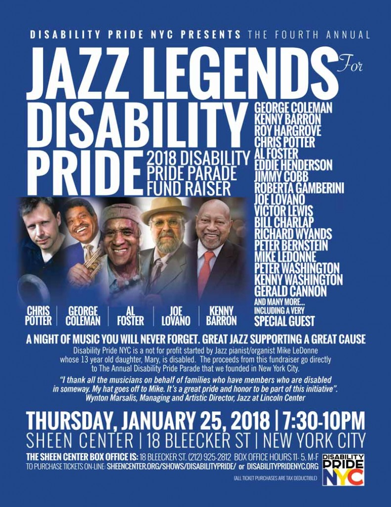 Jazz legends for disability pride fundraiser poster
