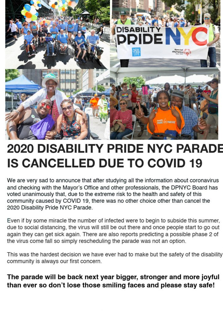 Disability Pride New York City poster announcing that the parade is cancelled due to the virus